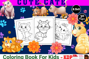 Print on Demand: Cute Cat Coloring Book - KDP Interior Graphic KDP Interiors By Family Color