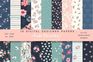Cute Flowers. 18 Seamless Patterns.. Graphic Patterns By Nadia Grapes