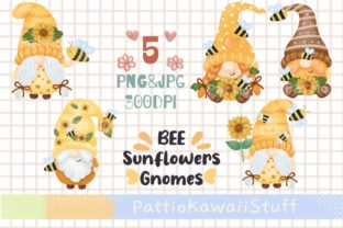 Cute Gnome Bee Sunflower Watercolor Png Graphic Illustrations By Pattiokawaiistuff