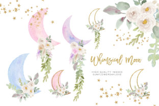 Print on Demand: Greenery Gold Glitter Whimsical Moon Graphic Illustrations By SunflowerLove
