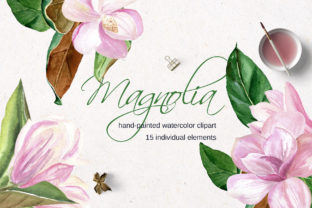 Print on Demand: Pink Magnolia Watercolor Flower Clipart Graphic Illustrations By Elena Dorosh Art