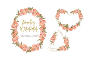 Print on Demand: Summer Peaches Frame Watercolor Clipart Graphic Illustrations By SunflowerLove