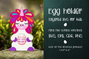 Print on Demand: Unicorn - Chocolate Egg Holder Template Graphic 3D SVG By Olga Belova