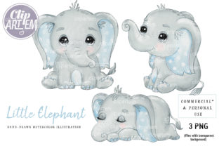 Print on Demand: Very Cute Boy Elephants PNG Clip Art Graphic Illustrations By clipArtem