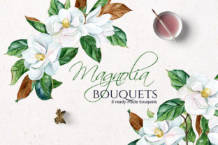 White Watercolor Magnolia Bouquets Graphic Illustrations By lena-dorosh