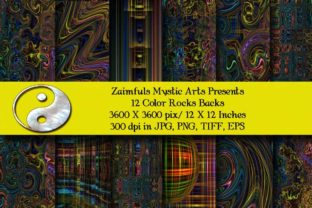 Print on Demand: 12 Color Rocks Stunning Backs Graphic Backgrounds By Zaimfuls Mystic Arts