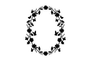 Oval Floral Butterfly Frame Designs & Drawings Craft Cut File By Creative Fabrica Crafts