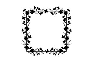 Square Floral Butterfly Frame Designs & Drawings Craft Cut File By Creative Fabrica Crafts