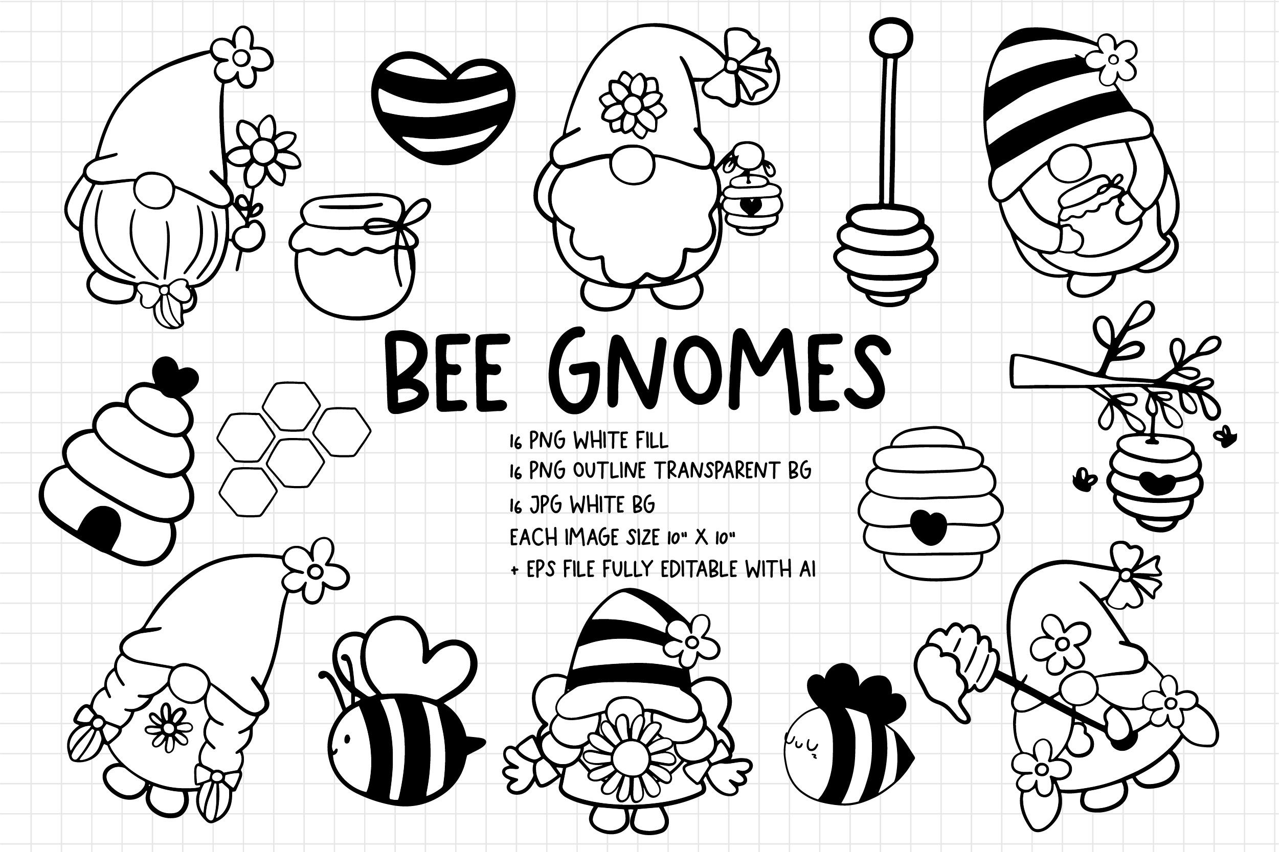 Bee Gnomes Digital Stamps, Coloring Page SVG File