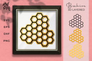 Beehive 3D Layered Graphic 3D SVG By akreatipe