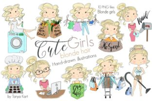 Blonde Hair Clipart of Cute Girls Graphic Illustrations By Tanya Kart