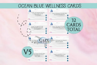 Print on Demand: Blue Nautical Wellness Cards  V5 Graphic Print Templates By CapeAirForce