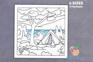 Camping Tent with Campfire Camping & Fishing Embroidery Design By embroiderydesigns101
