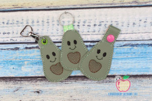 Cartoon Avocado in the Hoop Keyfob Food & Dining Embroidery Design By embroiderydesigns101