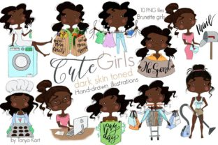 Dark Skin Toned Girls Clipart Graphic Illustrations By Tanya Kart