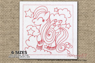 Fairytale Unicorn Design Fairy Tales Embroidery Design By Redwork101