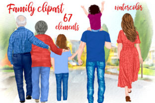 Print on Demand: Family Clipart Grandparents and Kids Grafik Illustrationen von LeCoqDesign