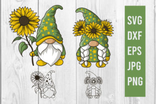 Print on Demand: Gnome and Sunflower Clipart Svg Cut File Graphic Print Templates By dadan_pm
