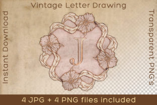 Print on Demand: Letter J Vintage Word Art Type Drawing Graphic Illustrations By Vintage 12by12