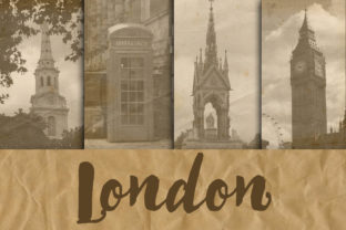 Print on Demand: London Digital Paper Backgrounds Graphic Backgrounds By oldmarketdesigns