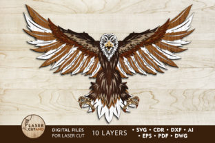 Print on Demand: Multilayer Cut File EAGLE, US Flag Art Graphic 3D SVG By LaserCutano
