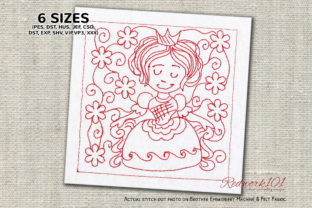 Queen with Flora Background Design Paisley Embroidery Design By Redwork101