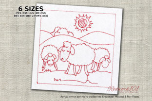 Sheep Eating Grass in Field Redwork Farm Animals Embroidery Design By Redwork101