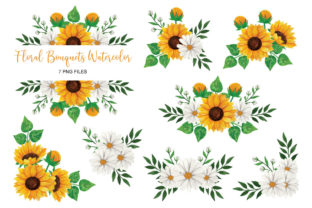 Sunflower Watercolor Clip Art Set PNG Graphic Print Templates By UrufaArt