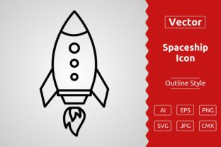 Print on Demand: Vector Spaceship Outline Icon Design Graphic Icons By Muhammad Atiq