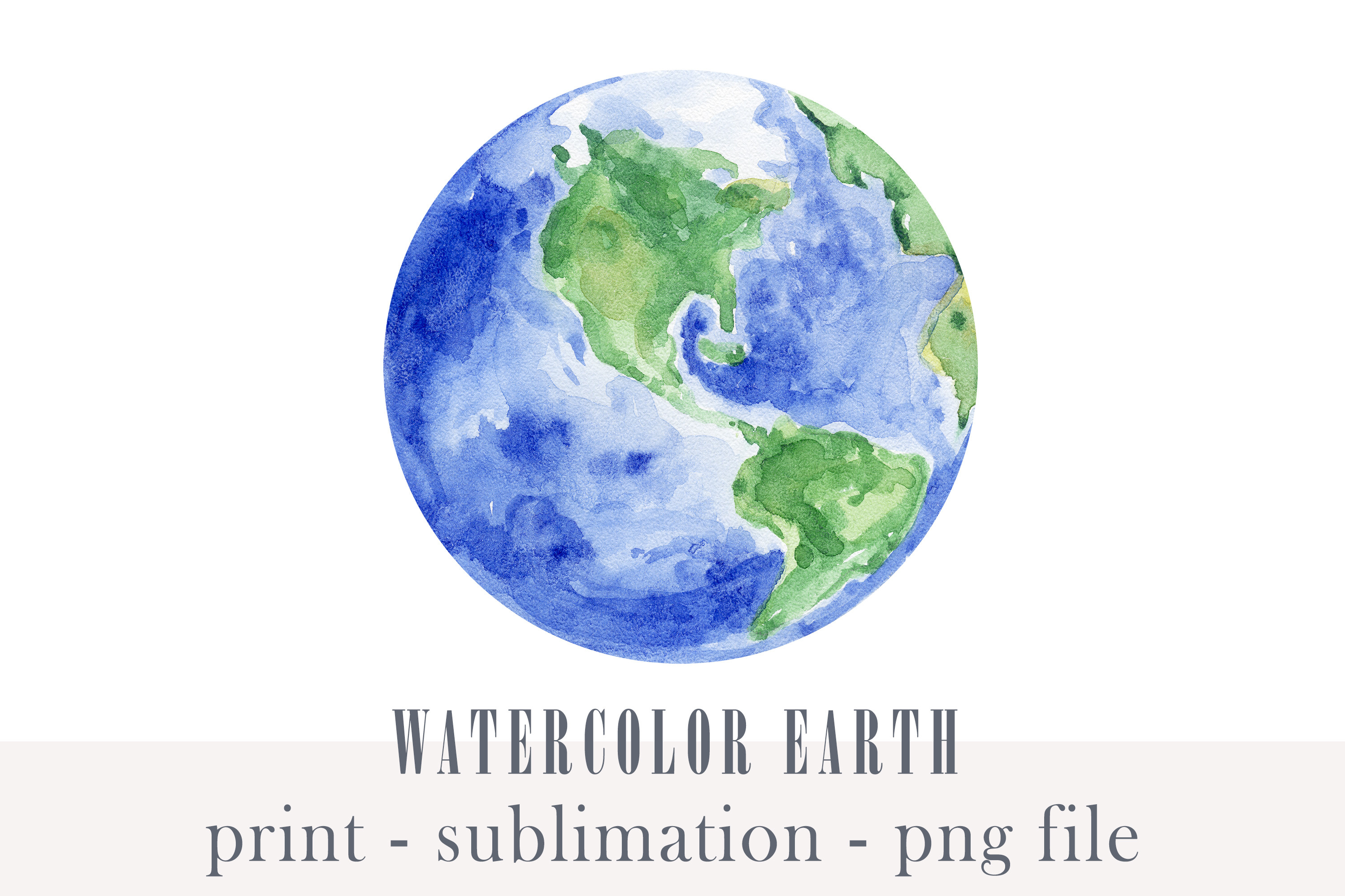 Watercolor Earth Planet Clipart - Png SVG File