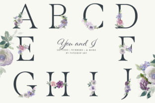 Watercolor Floral Alphabet Embellished Graphic Illustrations By Patishop Art