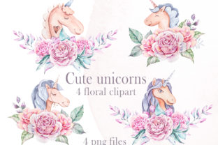 Print on Demand: Watercolor Cute Floral Unicorns Clipart Graphic Illustrations By Tiana Geo
