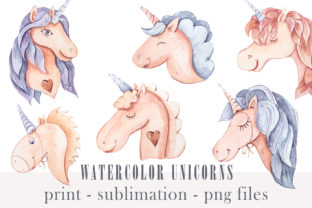 Print on Demand: Watercolor Cute Unicorn Clipart- Png Set Graphic Illustrations By Tiana Geo