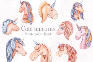 Print on Demand: Watercolor Unicorn Clipart- 9 Png Files Graphic Illustrations By Tiana Geo