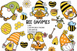 Print on Demand: Bee Gnomes SVG Bundle, Bee SVG Graphic Crafts By Chonnieartwork