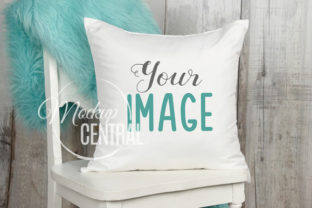 Blue Living Room Chair Mockup Pillow Graphic Product Mockups By Mockup Central