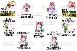 CUTE UNICORN BUNDLE,CLIPARTS ,9 PNG FILE Graphic Illustrations By Fundesings