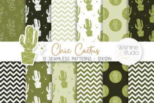 Chic Cactus Digital Papers Graphic Patterns By wishlinestudio