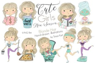 Cute Girls Blonde Hair Collection Graphic Icons By Tanya Kart