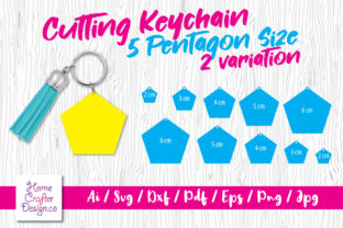 Print on Demand: Cutting Keychain - 5 Pentagon Size Graphic Crafts By Home Crafter Design.co