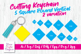Print on Demand: Cutting Keychain - 5 Square Vertical Graphic Crafts By Home Crafter Design.co