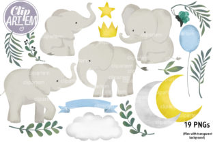 Print on Demand: Elephant Moon Bundle 19 PNG Clip Art Graphic Illustrations By clipArtem