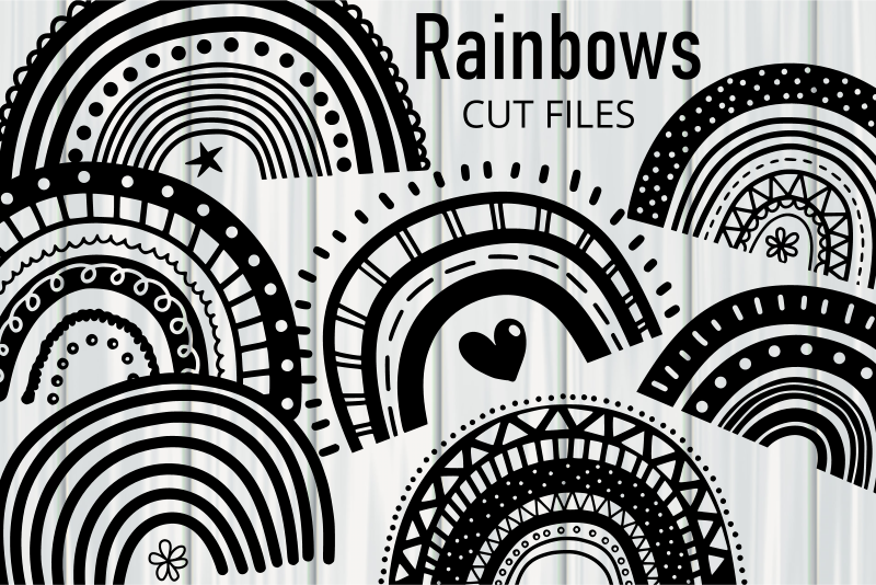 Hand Drawn Doodle Rainbow Cut Files SVG File