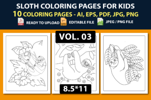 SLOTH COLORING PAGES for KIDS V.03 Graphic Coloring Pages & Books Kids By triggeredit