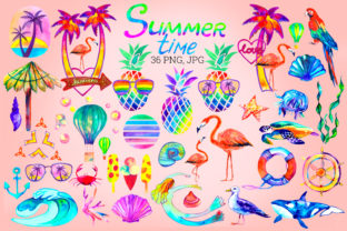 Print on Demand: Summer Sublimation Bundle. Watercolor Graphic Illustrations By KsenyaArt