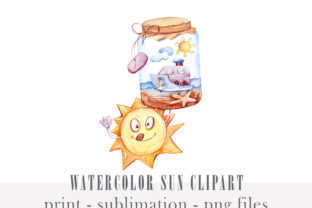 Print on Demand: Watercolor Summer Sun Clipart- Png File Graphic Illustrations By Tiana Geo