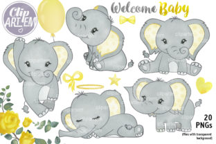 Print on Demand: Yellow Elephant Bundle 20 PNG Clip Art Graphic Illustrations By clipArtem