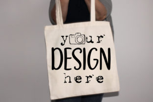 Beige Tote Bag Mockup, Two Natural White Graphic Product Mockups By MockupsCreations