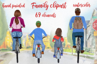 Print on Demand: Bicycle Clipart Family Riding Bicycles Graphic Illustrations By LeCoqDesign