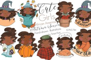 Cute Girls African America Autumn Season Graphic Objects By Tanya Kart